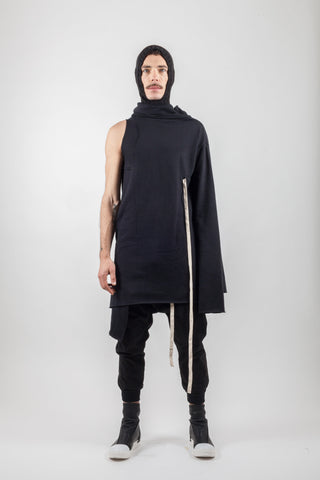 Shop Emerging Avant-garde Genderless Brand XCONCEPT Black Asymmetric Hooded Drawstring Cotton Sweatshirt at Erebus