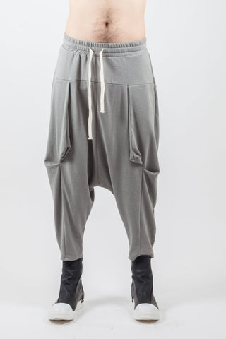 Shop Emerging Genderless Brand XCONCEPT Grey Drawstring Cotton Panel Pants at Erebus