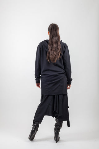 Shop Emerging Avant-garde Genderless Brand XCONCEPT Black Drawstring Cotton Over Zip Coat at Erebus