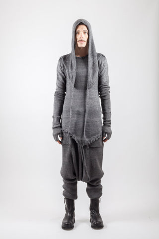 Shop Emerging Avant-garde Genderless Brand XCONCEPT Dark Grey Wool Blend Knit Hoodie at Erebus