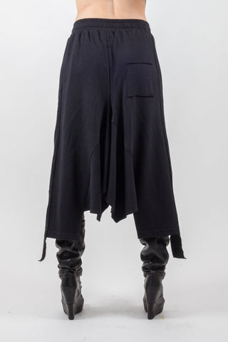 Shop Emerging Avant-garde Genderless Brand XCONCEPT Black Drawstring Cotton Skirt at Erebus
