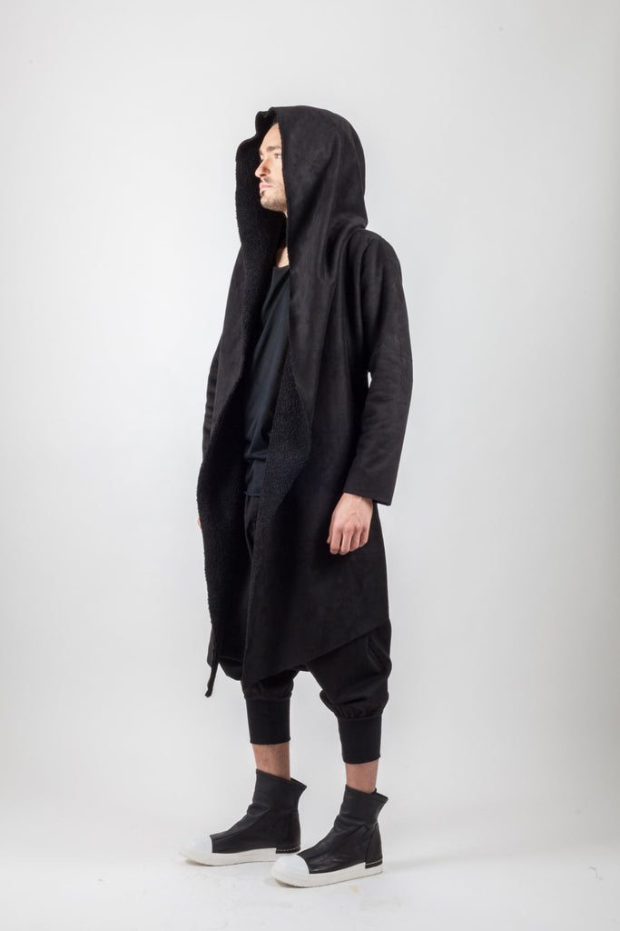Shop Emerging Avant-garde Genderless Brand XCONCEPT Black Drape Front Hooded Conceptual Long Blend Coat at Erebus