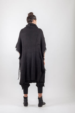 Shop Emerging Avant-garde Genderless Brand XCONCEPT Black Wool Fringe Knitted Poncho Coat at Erebus