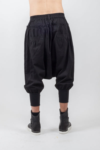 Shop Emerging Genderless Brand XCONCEPT Black Low Crotch Cargo Pants at Erebus
