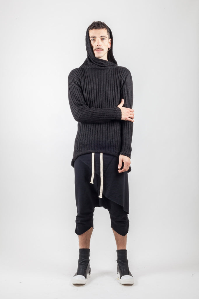 Shop Emerging Avant-garde Genderless Brand XCONCEPT Black Collar Lines Knit Jumper at Erebus