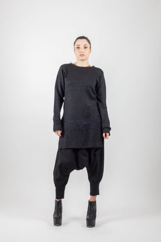 Shop Emerging Avant-garde Genderless Brand XCONCEPT Black Apron Knit Jumper at Erebus
