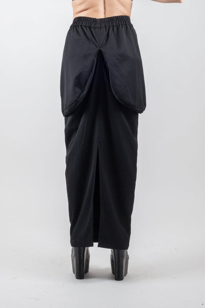 Shop Emerging Urban Brand XCONCEPT Black Draped Posh Long Skirt at Erebus