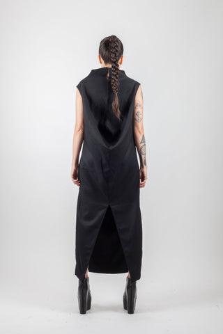 Shop Emerging Avant-garde Brand XCONCEPT Black Vertical Long Posh Dress at Erebus