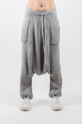 Shop Emerging Genderless Brand XCONCEPT Grey Wool Knit Pants at Erebus