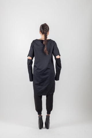 Shop Emerging Avant-garde Genderless Brand XCONCEPT Black Cut Top at Erebus