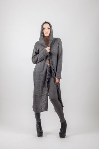 Shop Emerging Avant-garde Genderless Brand XCONCEPT Dark Grey Hooded Long Knit Cardigan at Erebus