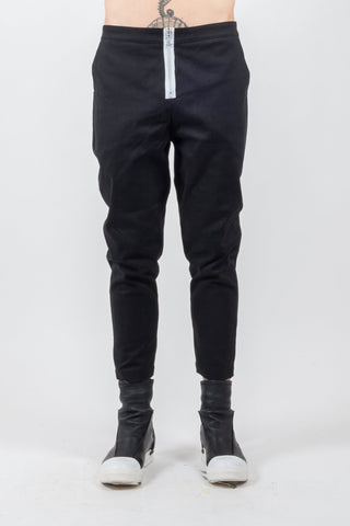 Shop Emerging Avant-garde Genderless Brand Incontaminato Black Exposed Zip Pants at Erebus