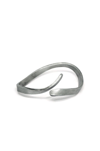 Shop Emerging Slow Fashion Avant-garde Jewellery Brand Gothmos Oxidised Sterling Silver Wave Bangle Bracelet at Erebus