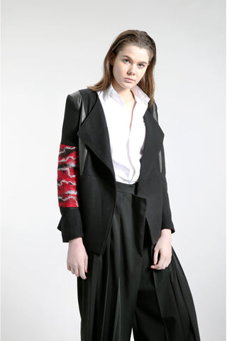 Shop Emerging Contemporary Womenswear Brand Studio Karro Red Felted Sleeve Jacket at Erebus
