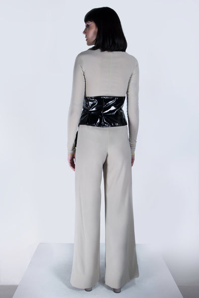 Shop emerging futuristic genderless designer Fuenf Metaphysics AW20 Collection Black Wide Transform Waist Belt at Erebus