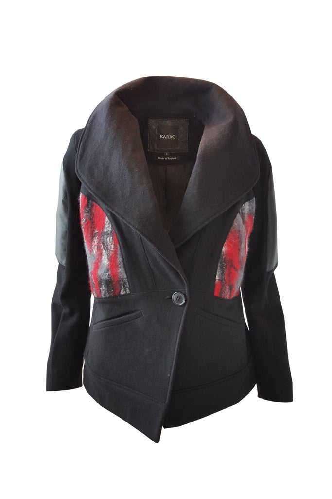 Shop Emerging Brand Studio Karro Red Felted Jacket at Erebus