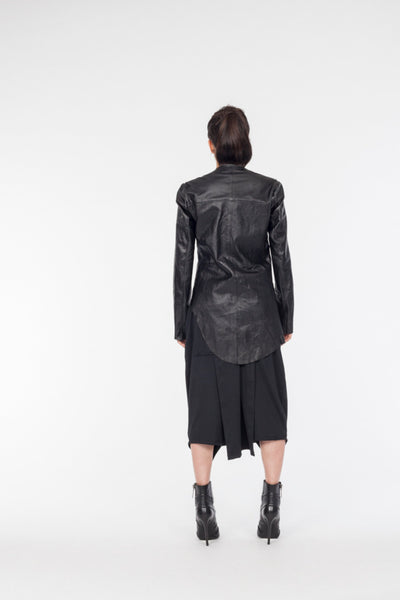 Shop Emerging Avant-garde Genderless Brand XCONCEPT Black Live Cut Asymmetric Leather Jacket at Erebus