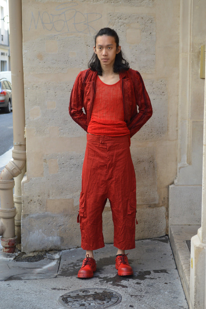 Shop Couture Conscious Dark Avant-garde Luxury Designer Brand Sandrine Philippe SS20 Homme Collection Red Double Belt Cropped Cargo Trousers at Erebus