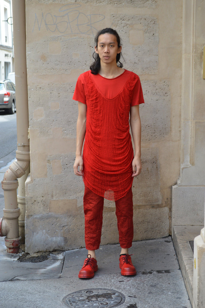 Shop Couture Conscious Dark Avant-garde Luxury Designer Brand Sandrine Philippe SS20 Homme Collection Red Double Collar Deknitted T-Shirt at Erebus