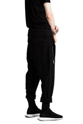 Shop Emerging Conscious Avant-garde Genderless Brand Venia Collection Black Boiled Japanese Wool Jin Drop Crotch Pants at Erebus