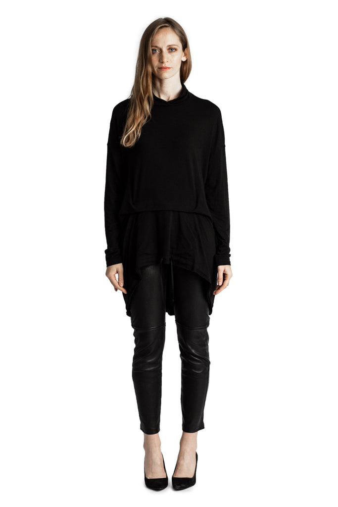 Shop Emerging Conscious Avant-garde Genderless Brand Venia Collection Black Cedrus Top at Erebus
