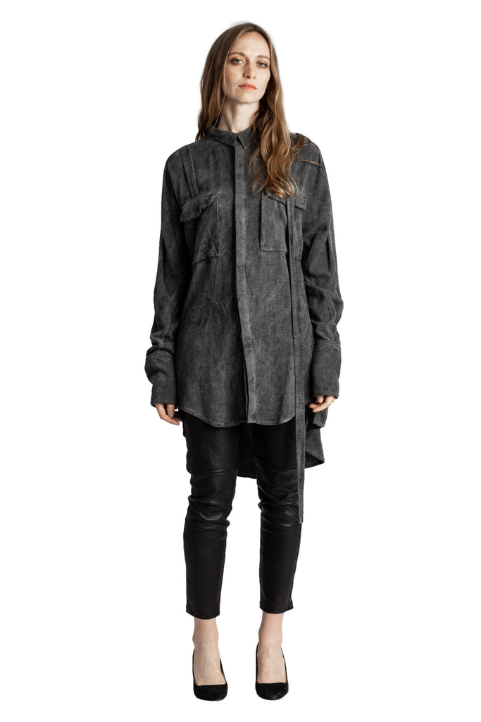 Shop Emerging Conscious Avant-garde Genderless Brand Venia Collection Sulphur Ash Pigment Dyed Doc Military Shirt at Erebus