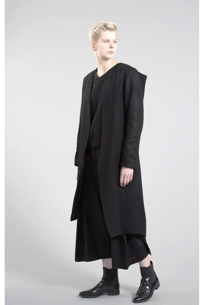 Shop Emerging Contemporary Womenswear Brand Studio Karro Asymmetric Black Sharp Coat at Erebus