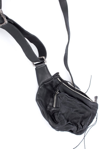 Shop Emerging Slow Fashion Avant-garde Artisan Leather Brand Gegenüber Black Hang 3 Bum Bag at Erebus