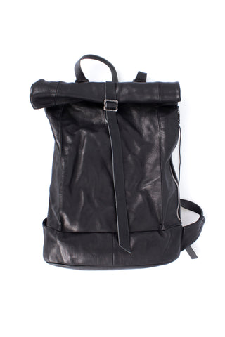 Shop Emerging Slow Fashion Avant-garde Artisan Leather Brand Gegenüber Black Ergrief Backpack at Erebus