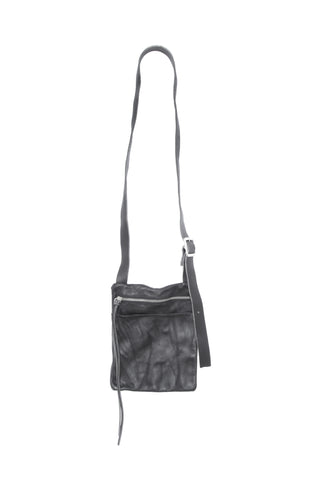 Shop Emerging Slow Fashion Avant-garde Artisan Leather Brand Gegenüber Black Hang 2 Mini Messenger Bag at Erebus