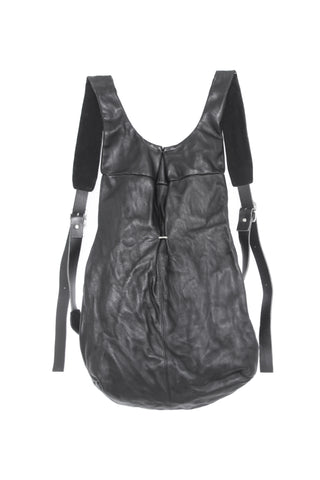 Shop Emerging Slow Fashion Avant-garde Artisan Leather Brand Gegenüber Black Stahl Backpack at Erebus