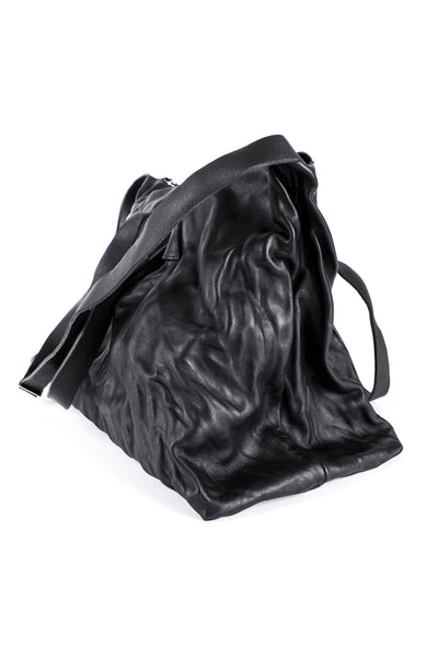 Shop Emerging Slow Fashion Avant-garde Artisan Leather Brand Gegenüber Black Aktenmappe Large Shoulder Bag at Erebus