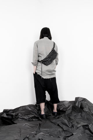 Shop Emerging Slow Fashion Avant-garde Artisan Leather Brand Gegenüber Black Hang 1 Bum Bag at Erebus