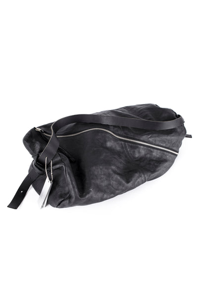 Shop Emerging Slow Fashion Avant-garde Leather Brand Gegenüber Black Walzen Gross Large Barrel Bag at Erebus