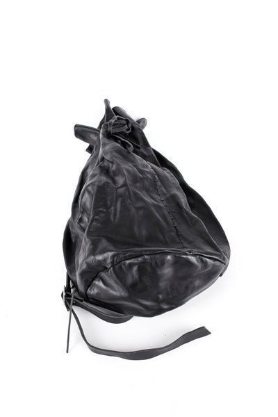 Shop Emerging Slow Fashion Avant-garde Artisan Leather Brand Gegenüber Black Wunde Gross Large Gourd Bottle Bag at Erebus