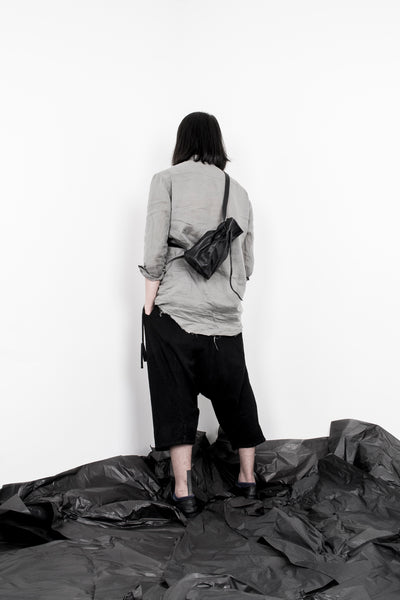 Shop Emerging Slow Fashion Avant-garde Artisan Leather Brand Gegenüber Black Wunde Klein Small Gourd Bottle Bag at Erebus