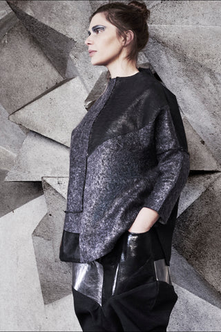 Shop Emerging Conscious Avant-garde Genderless Brand Supramorphous Black and Grey Wool Geo Texture Pullover at Erebus