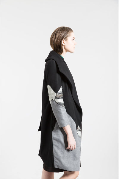 Shop Emerging Contemporary Womenswear Brand Studio Karro Grey Felt Asymmetric Coat at Erebus