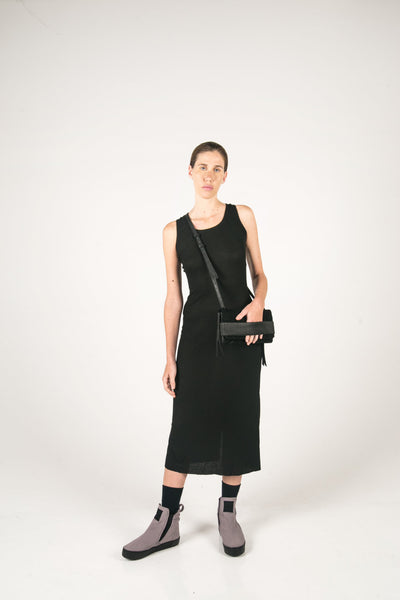 Shop Fair Fashion Genderless Avant-garde Basics Brand PULSE by Mark Baigent Collection Black Reclaimed Goat Leather EKKO Clutch Cross Body Bag at Erebus