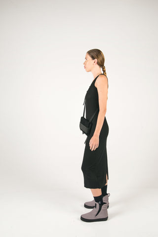Shop Fair Fashion Genderless Avant-garde Basics Brand PULSE by Mark Baigent Collection Black Sporty Fitted Rib Viscose Endothelium Dress at Erebus