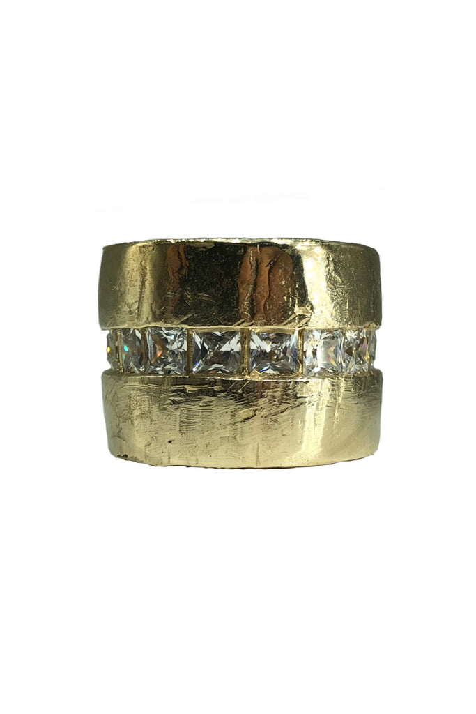 Shop Emerging Avant-garde Jewellery Brand Relics by Geo Bronze and Cubic Zirconia Capital Large Ring at Erebus