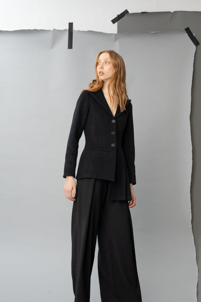 Shop Emerging Dark Luxury Avant-garde Designer Pavlina Jauss Antitheses Collection Black Wool Asymmetric Nice Suit Jacket at Erebus