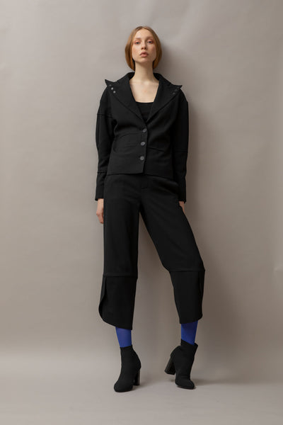 Shop Emerging Dark Luxury Avant-garde Designer Pavlina Jauss Antitheses Collection Black Utopia Suiting Jacket at Erebus