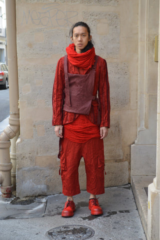 Shop Couture Conscious Dark Avant-garde Luxury Designer Brand Sandrine Philippe SS20 Homme Collection Red Deknitted Scarf at Erebus