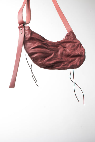 Shop Emerging Slow Fashion Avant-garde Artisan Leather Brand Gegenüber Red Hang 5 Hobo Bag at Erebus