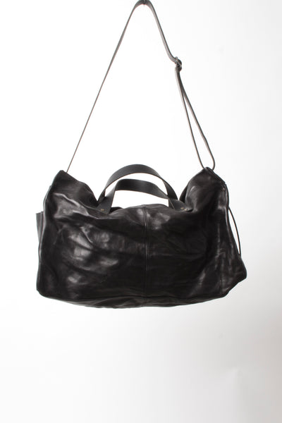 Shop Emerging Slow Fashion Avant-garde Artisan Leather Brand Gegenüber Black Kluft 1 Boston Bag at Erebus
