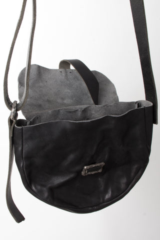 Shop Emerging Slow Fashion Avant-garde Artisan Leather Brand Gegenüber Black Mond Half Moon Bag at Erebus