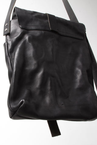Shop Emerging Slow Fashion Avant-garde Artisan Leather Brand Gegenüber Black Reise 3 Messenger Bag at Erebus