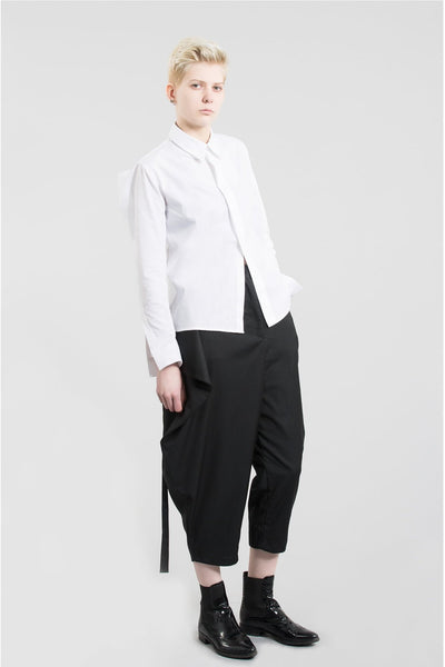 Shop Emerging Contemporary Womenswear Brand Studio Karro White Sharp Shirt at Erebus