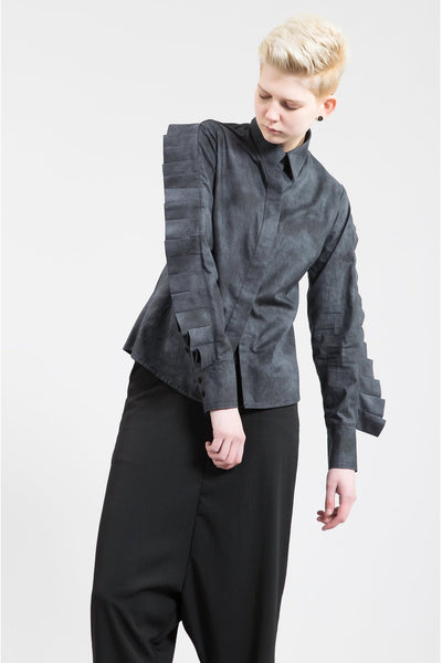 Shop Emerging Contemporary Womenswear Brand Studio Karro Pleated Sleeve Shirt at Erebus